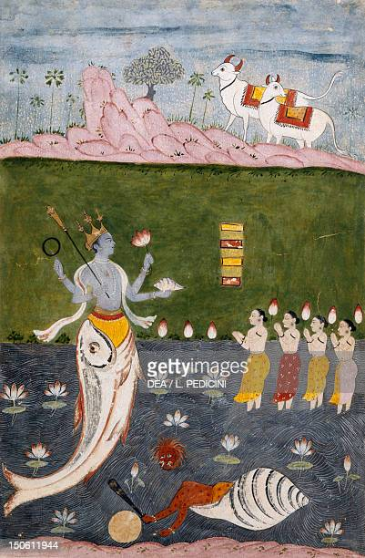 Vishnu in the guise of a fish with four arms holding her symbols lower section the demon Hayagriva watercolour on ivory paper 26x17 cm India Indian...