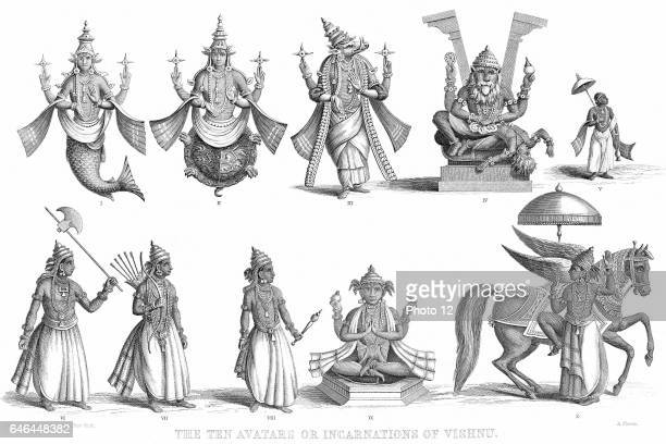 Vishnu one of gods of the Hindu Trinity in his ten incarnations or avatars Photo12/UIG via Getty Images