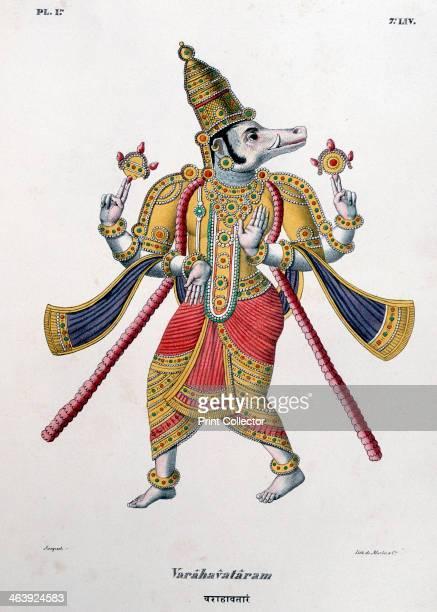 Vishnu one of the gods of the Hindu trinity 1828 Vishnu in his third avatar or manifestation as Varaha the boar IIllustration from L'Inde francaise