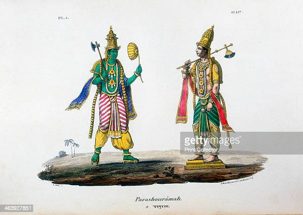 Vishnu one of the gods of the Hindu trinity c19th century Vishnu in his avatar as ParshuRama Rama with the Axe From L'Inde Francaise