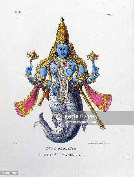 Vishnu one of the gods of the Hindu trinity in his avatar of Matsya a fish Lithograph from L'Inde Francaise 1828