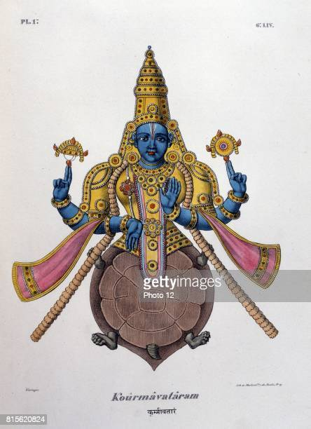 Vishnu one of the gods of the Hindu trinity in his second avatar with body of a turtle Coloured lithograph from L'Inde francaise 1828