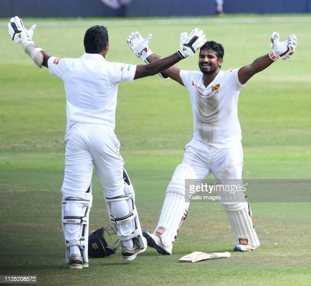 Vishwa Fernando and Kusal Perera of Sri Lanka celebrates Sri Lanka win by one wicket during day 4 of the 1st Test match between South Africa and Sri...