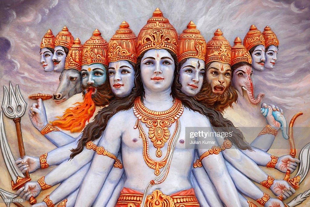 Vishwaroopa, the universal form revealed by Krishna in the Bhagavad Gita : Stock Photo