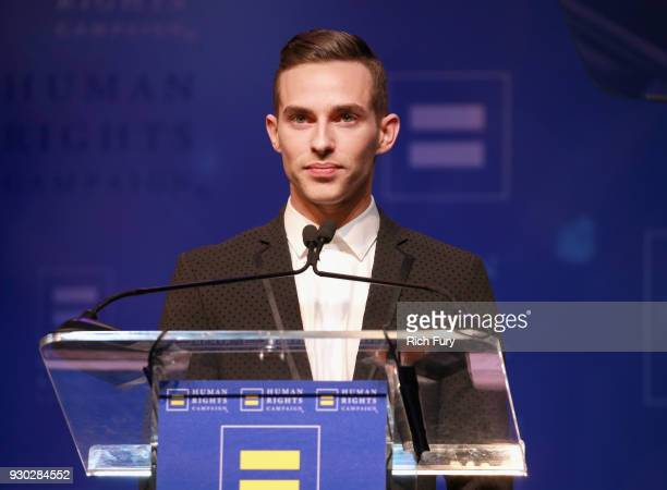 Visibility Award recipient Adam Rippon speaks onstage at The Human Rights Campaign 2018 Los Angeles Gala Dinner at JW Marriott Los Angeles at LA LIVE...