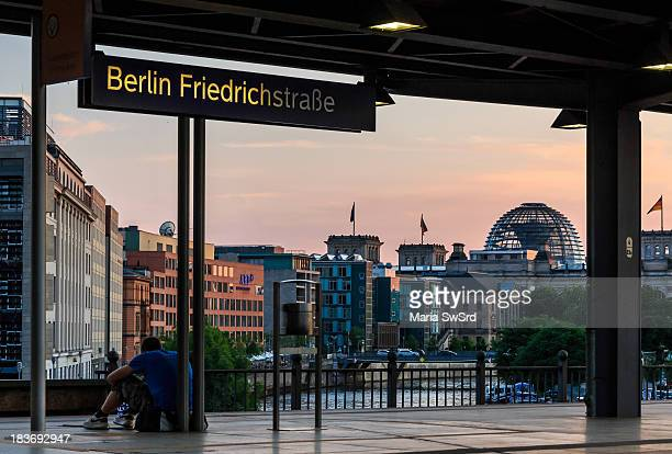 CONTENT] Visible are the train station Friedrichstraße and the German Parliament building in the district the Mitte in Berlin During the Cold War...