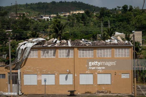 Visible roof damage in a school in the Carola neighborhood on September 19 2018 in RIO GRANDE Hurricane Maria slammed into the island on September 20...