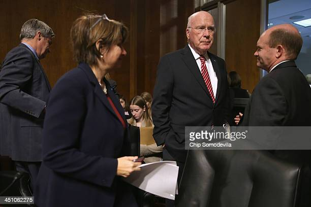 A visibly frustrated Senate Judiciary Committee Chairman Patrick Leahy and committee members Sen Sheldon Whitehouse Sen Amy Klobuchar and Sen Chris...