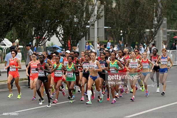 Visiline Jepkesho of Kenya, Mare Dibaba of Ethiopia, Tigist Tufa of Ethiopia and Katarina Beresova of Slovakia lead the field during the Women's...