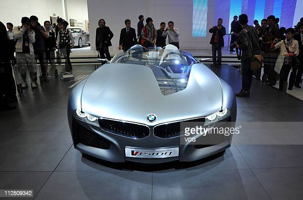Vision ConnectedDrive Concept Car is displayed during the media day of the Shanghai International Automobile Industry Exhibition at Shanghai New...
