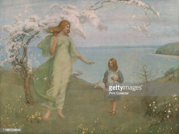 A Vision of Spring' Personification of Spring a young woman dressed in flowing robes stands beneath a tree covered in white blossom and gestures to a...