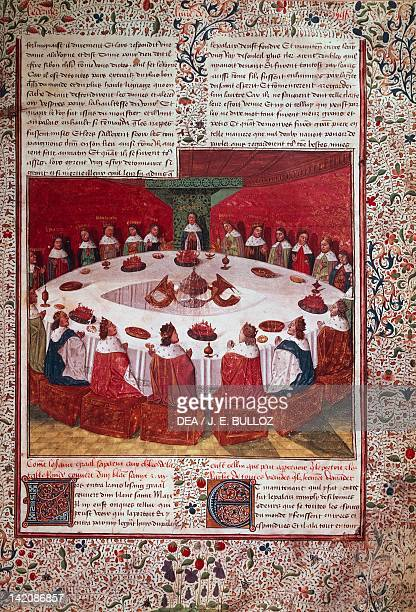 A vision of the Grail miniature from Arthur and the Knights of the Round Table manuscript France 15th Century