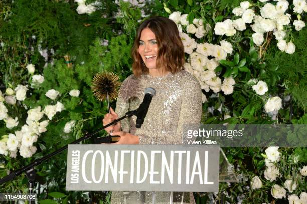 Visionary Award presenter Mandy Moore speaks onstage during the Los Angeles Confidential Impact Awards at The LINE Hotel on June 09 2019 in Los...