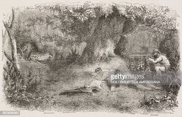 A visit during the siesta man shooting at a cheetah drawing by E Bocourt from a sketch by Mouhot from Travels in the central parts of IndoChina...