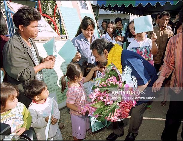 Visit of East Timor leader Xanana Gusmao in Bangkok Thailand on February 01 2000 In a Bangkok slum