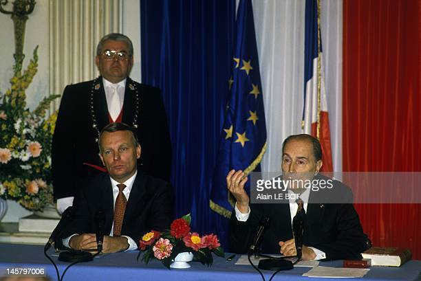 Visit of French President Francois Mitterrand in Nantes with mayor Jean Marc Ayrault on January 25, 1994 in Nantes, France.