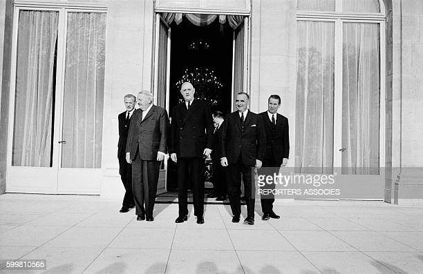 Visit of German Chancellor Ludwig Erhard at the Elysée Palace with French Foreign Secretary Maurice Couve de Murville General Charles de Gaulle Prime...