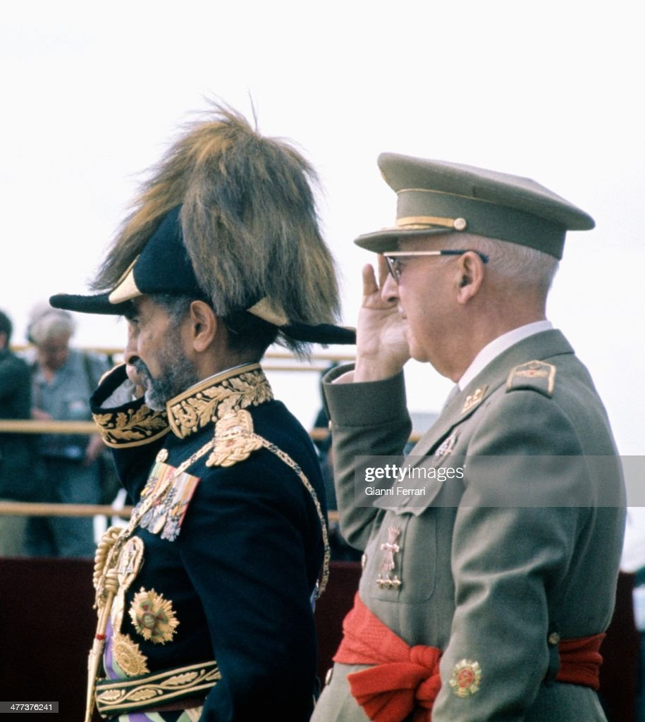 Visit of Haile Selassie to Spain received by Francisco Franco, 1971, Madrid, Spain.