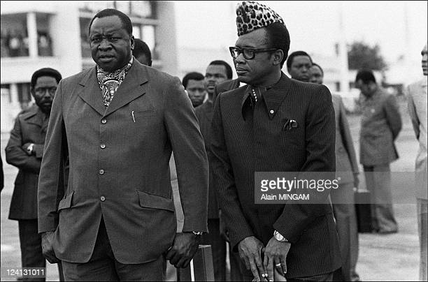 Visit of Idi Amin Dada to Zaire to offer his support to president Mobutu in Kinshasa Congo on April 23 1977 Idi Amin Dada and Mobutu