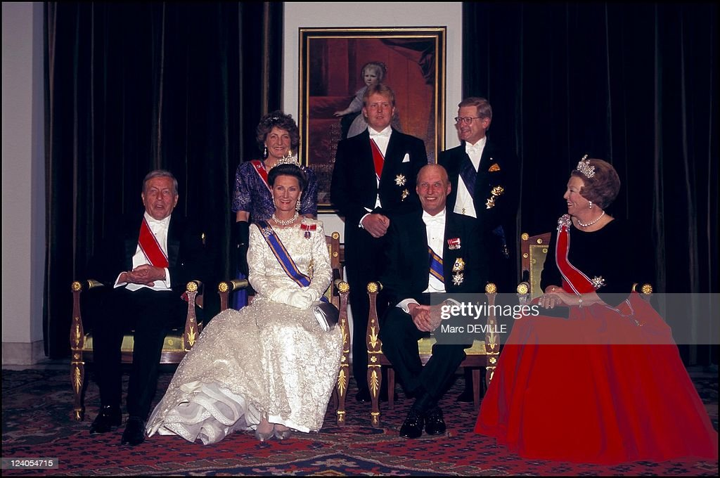Visit Of King Harald And Queen Sonja Of Norway In Amsterdam, Netherlands In April, 1996-. : News Photo