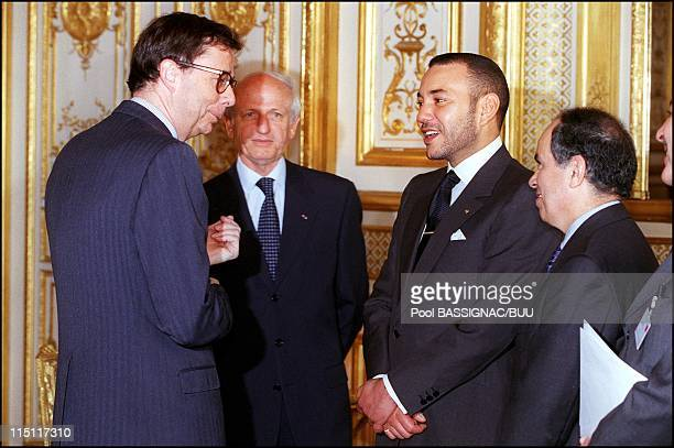 Visit of King Mohammed VI of Morocco in Paris France on March 22 2000 With Andre Azoulay and Louis Schweitzer