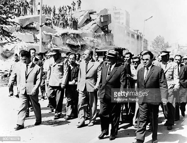 Visit of Marshal Tito in Skopje a few days after the earthquake which destroyed 80% of the city and caused the death of 10 000 people, thousands of...