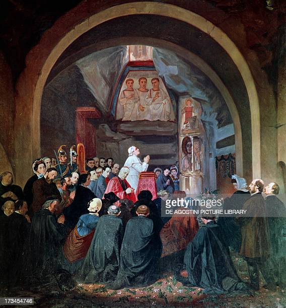 Visit of Pope Pius IX to the tomb of St Cecilia in the Catacomb of Callixtus in Rome November 1854 Italy 19th century Città Del Vaticano Vatican...