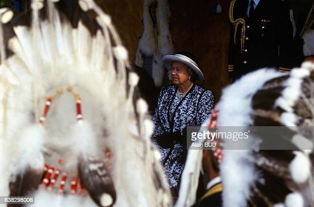 Visit of Queen Elizabeth II in Yellowknife in the Northwest Territories in Canada on August 22 1994