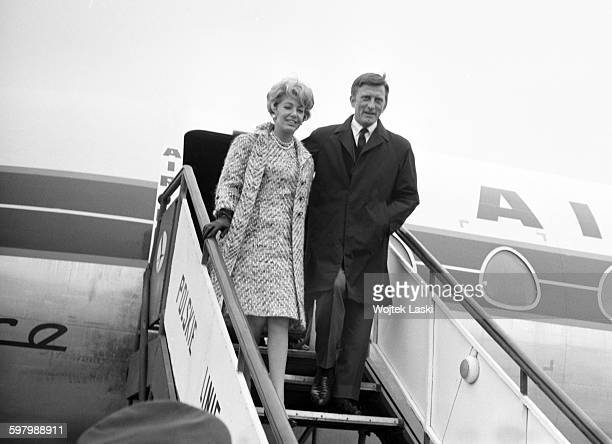 A visit of the American actor Kirk Douglas to Warsaw Poland on 1st April 1966 Pictured Kirk Douglas and his wife Anne Buydens get off the plane at...