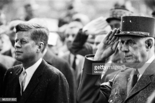 Visit of the American president John F Kennedy and his wife Jackie to Paris, France. The President with French President Charles De Gaulle, 31st May...