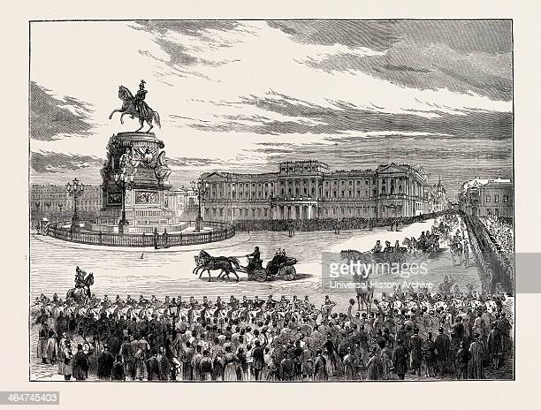 Visit Of The Emperor Of Germany To St Petersburg Russia The Emperor And The Czar Passing The Nicholay Place 1873