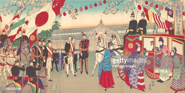 Visit of the Empress to the Third National Industrial Promotional Exhibition at Ueno Park , 1889. Artist Chikanobu Yoshu.