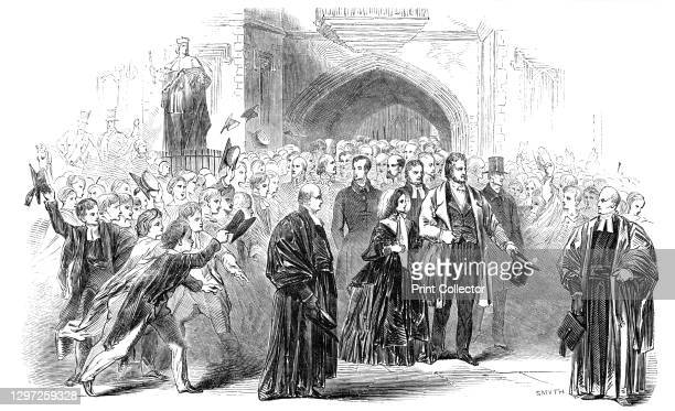 Visit of the King of the French and Queen Victoria to Eton College, 1844. King Louis Philippe is a guest of the Queen - here they visit the famous...