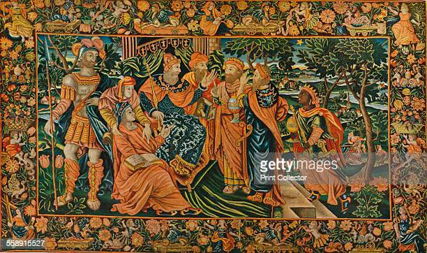 'Visit of the Magi to Herod Elizabethan PetitPoint Panel' c16th century From The Connoisseur Volume LXXVII [The Connoisseur Ltd London 1927]