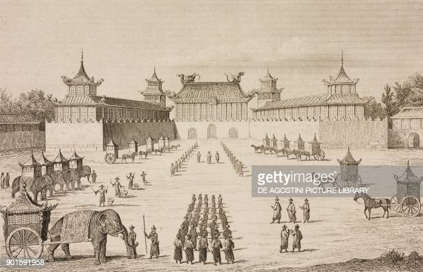 Visit of the Moscow Tsar Ambassador at the throne hall of the Imperial Palace on November 13 Beijing China engraving by Lemaitre from Chine ou...