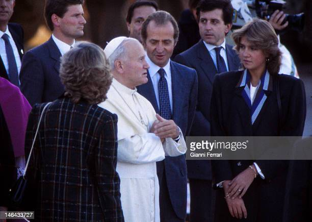 Visit of the Pope John Paul II to Zaragoza accompanied by the King Juan Carlos and the Infanta Cristina 6th November 1982 Zaragoza Spain