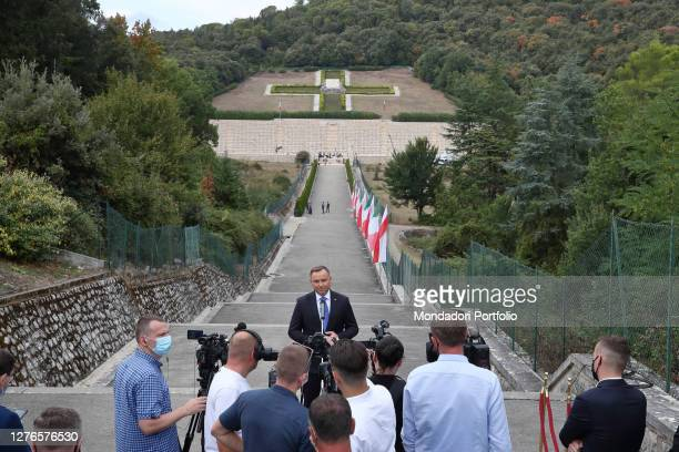 Visit of the President of the Republic of Poland Andrzej Duda with his wife Agata Kornhauser-Duda at the Polish military cemetery of Montecassino....