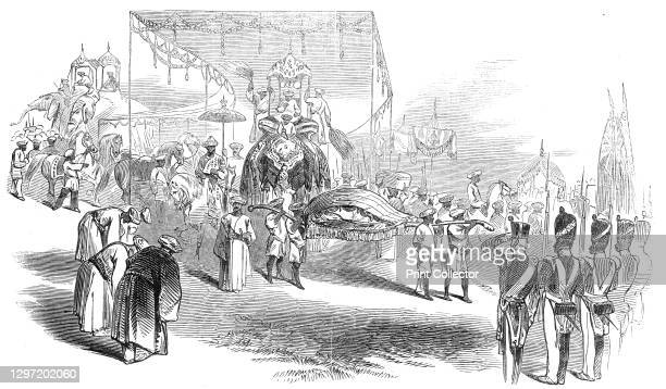 Visit of the Rajah of Travancore to Madras, 1845. Swathi Thirunal Rama Varma is received by the 12th Regiment Madras Native Infantry, at Quilon ....
