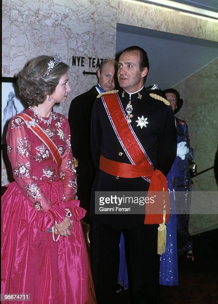 Visit of the Spanish Kings to Norway here in the 'Gran Hotel ' of Oslo before a official dinner April 1982 Oslo Norway Photo by Gianni Ferrari/Getty...