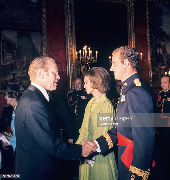 Visit of US President Gerald Ford to the Princes of Spain Juan Carlos of Borbon and Sofia of Greece in the Royal Palace Madrid, Spain. .