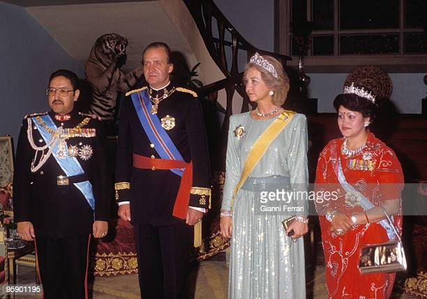 Visit ofthe Kings of Spain in Nepal KatmandhuCena gala hosted by King Birendra and Queen Aishwayra to the King of Spain Juan Carlos and Sofia