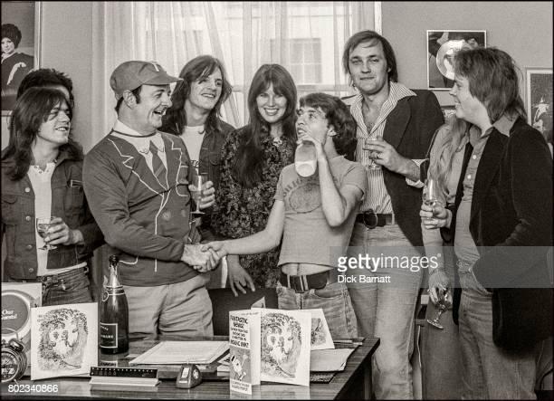 AC/DC visit Radio Luxenbourg DJ Ken Evans London 1976