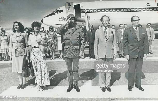 1976 visit to Cuba strained relations with Washington when Trudeau declared 'Viva Castro' Fidel Castro is at centre Margaret Trudeau holds baby Michel