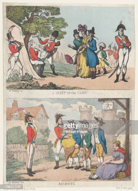 Visit to the Camp, and Recruits, 1811 . Artist Thomas Rowlandson.