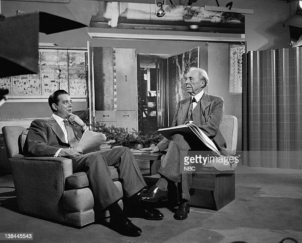 MEN 'A Visit with Frank Lloyd Wright' Episode 105 Pictured Host Hugh Downs architect Frank Lloyd Wright during an interview in Chicago on May 8 1953