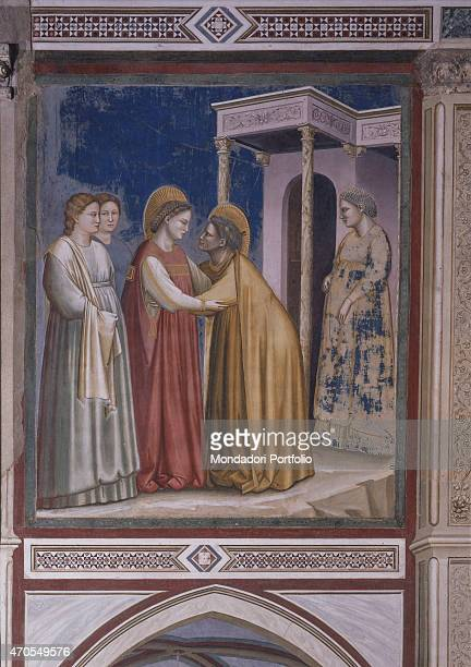 'Visitation by Giotto 13031305 14th Century fresco Italy Veneto Padua Scrovegni Chapel After restoration picture Whole artwork view Mary and...