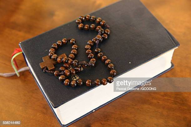 visitation monastery. bible and prayer beads. - prayer book stock pictures, royalty-free photos & images