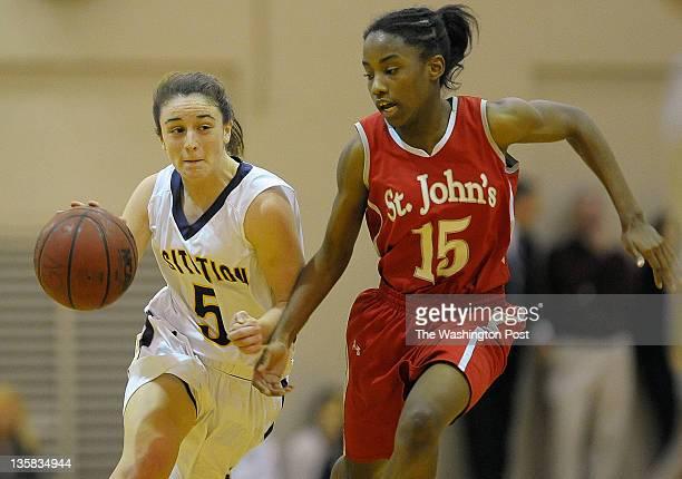 Visitation's Kelsey Tillman left drives up court against St Johns' Lindsay Allen right during St Johns defeat of Visitation 79 61 in girls basketball...