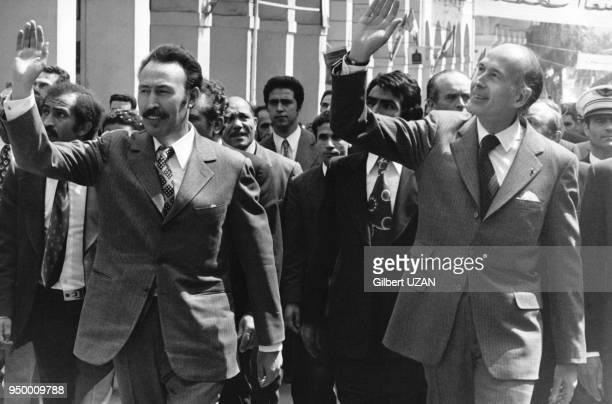Visite à Constantine de Valéry Giscard d'Estaing accompagné de Houari Boumédiène Constantine les 11 et 12 avril 1975 Algérie