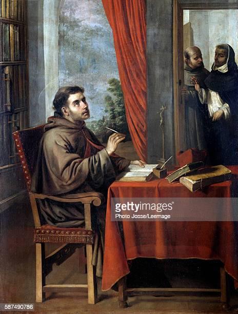 Visite du theologien et philosophe italien saint Thomas d'Aquin a saint Bonaventure Peinture de Francisco Zurbaran 17eme siecle San Francisco Fine...